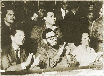 Francisco Julião and Alexina Lins with friend Fidel Castro (m.)